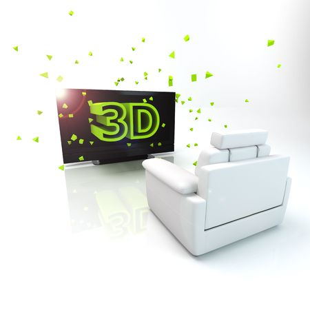 entertainment industry: 3D TV concept image.  Stock Photo