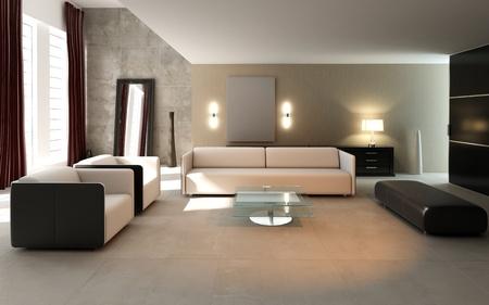 modern drawing room,3d rendering
