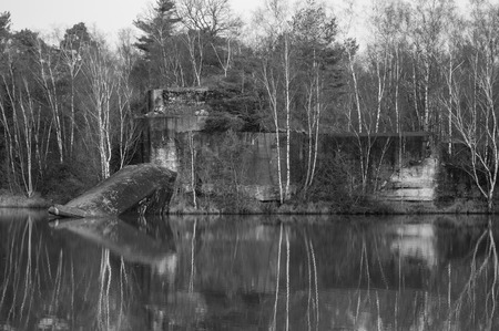 conquered: Old fortress conquered by nature reflecting on the water in black and white.