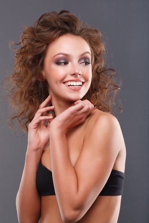 Close-up of a young, beautiful, brown-haired woman. photo
