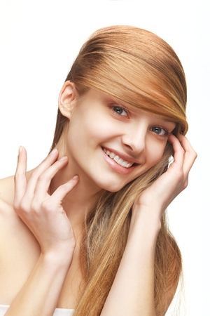 Pretty young girl with long hair on white background Stock Photo - 11854869