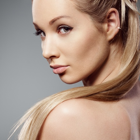 Beauty face of beautiful woman with clean fresh skin - isolated Stock Photo - 13108171