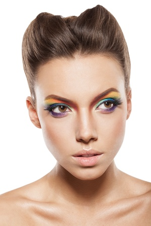 beautiful female face with rainbow makeup. girl looking away Stock Photo - 16797541