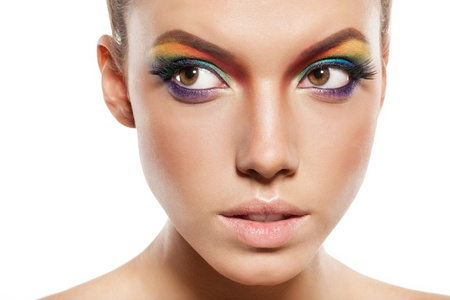 beautiful female face with rainbow makeup. closeup of girl looking away Stock Photo - 16797535