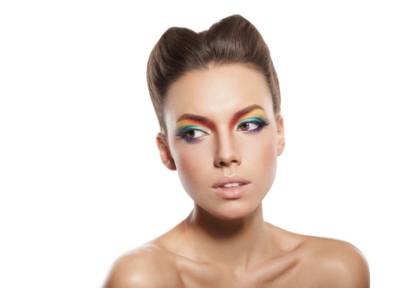 closeup of beautiful female face with rainbow makeup Stock Photo - 16826322