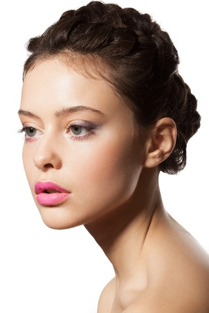 beautiful female face in profile with Makeup and Hairstyle Stock Photo - 16880598