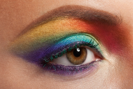 closeup of beautiful female eye with rainbow makeup Stock Photo - 17009303