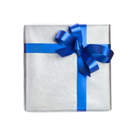 blue gift box: silver gift box with blue ribbon on white background