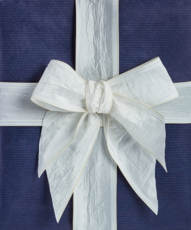 closeup blue gift box with white ribbon photo