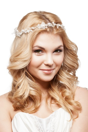 Beautiful elegance woman with beauty wedding coiffure photo