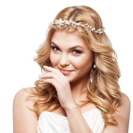 wedding accessories: bride in white dress with beauty wedding coiffure Stock Photo