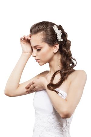 Beautiful elegance bride with beauty wedding coiffure photo