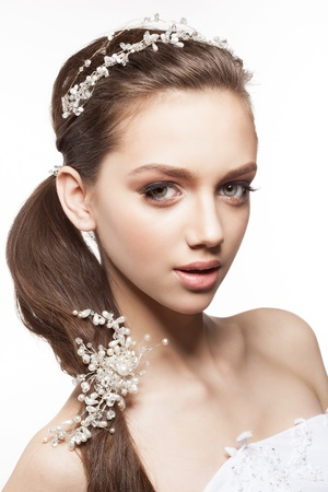 Beautiful elegance bride with beauty wedding coiffure photo