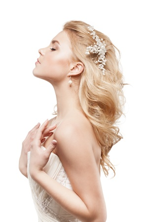 Beautiful blonde bride with beauty wedding coiffure Stock Photo