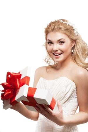 Beautiful blonde bride with white gift box Stock Photo - 17887429