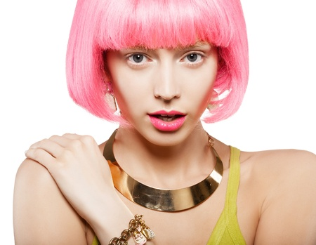 imitations: young woman in a bright pink wig, indoor