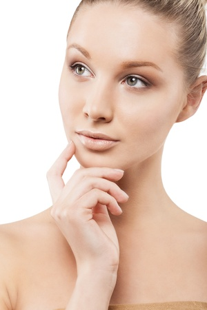 clear skin: Beauty face of beautiful woman with clean fresh skin - isolated