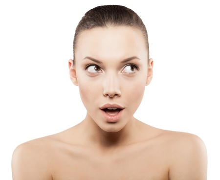 fresh face: Beauty face of surprised woman with clean fresh skin - isolated
