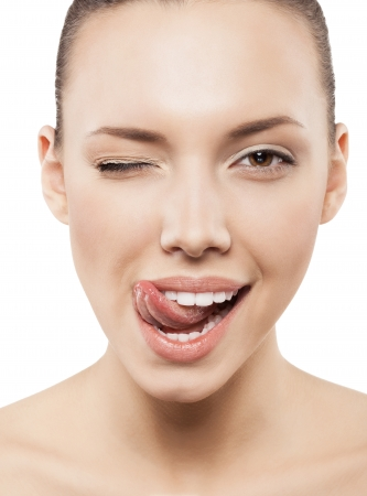 front teeth: Beauty face of funny girl with clean fresh skin - isolated