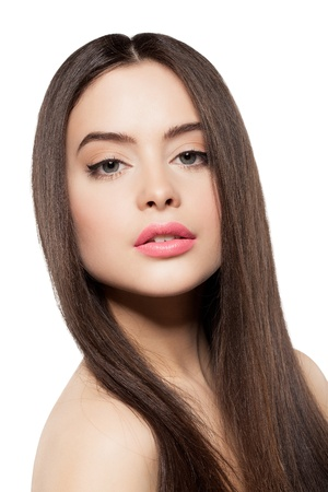 Beauty face of woman with clean fresh skin ang long hair