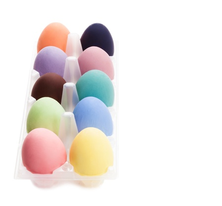 color eggs for holiday easter on white background photo