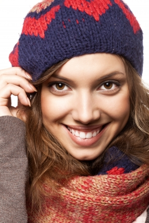 Portrait of beautiful woman wearing woolen accessories, not isolated on white background photo