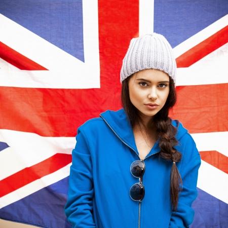 british girl: British sexy woman with the Union Jack flag Stock Photo