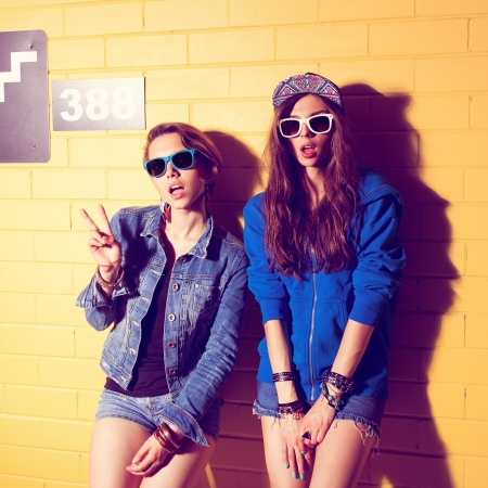 nude woman posing: Two young girlfriends in sunglasses having fun  Lifestyle