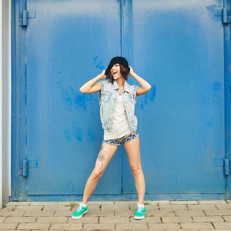 Happy funny teenage girl having fun  Lifestyle portrait photo