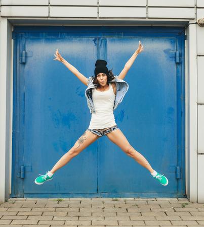 Hipster girl having fun  Lifestyle portrait photo