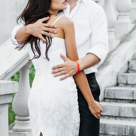 sexy couple embrace: Young couple loving each other. Man hugging a woman. Stock Photo