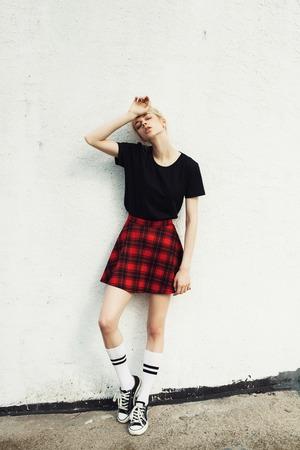 urban fashion: fashion urban girl. Outdoors lifestyle portrait