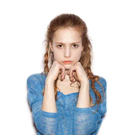 brown skin:  Portrait of teen girl beautiful cheerful enjoying with long brown hair and clean skin.