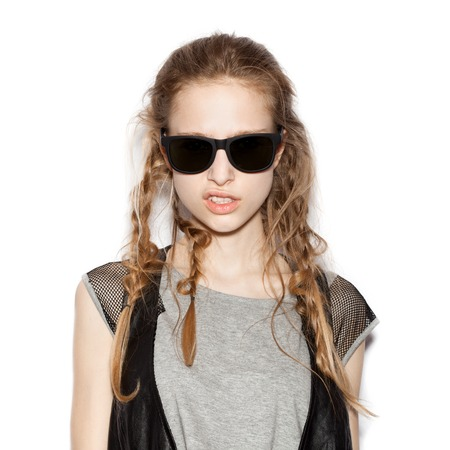 fashion girl: Fashion girl hipster in sunglasses.  White background, not isolated