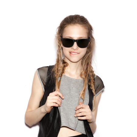 fashion girl: Fashion smiling girl hipster in sunglasses.  White background, not isolated