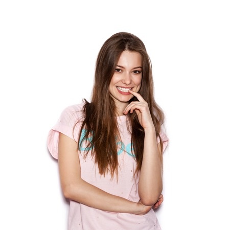 funny cute smiling woman. Beautiful laughing girl . White background, not isolated Stockfoto