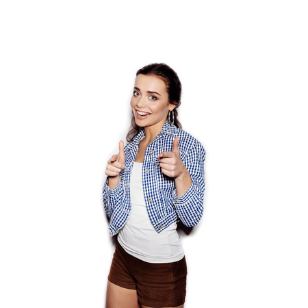 blue plaid: Cute happy Girl in a blue plaid shirt r on a white background not isolated Stock Photo