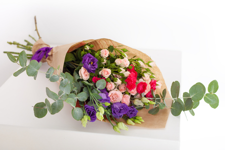 Close up of a flower bouquet on a white background