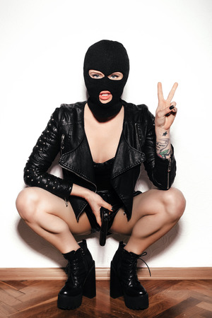 tomboy: woman in balaclava