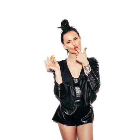 swag: Swag girl posing against white background
