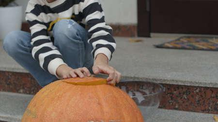 Boy opens big pumpkin. Holiday halloween