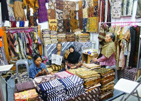 Batik seller in Yogyakarta, Indonesia