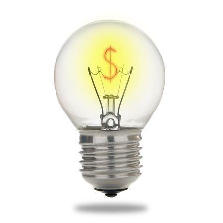 electric bulb with dollar symbol filament photo