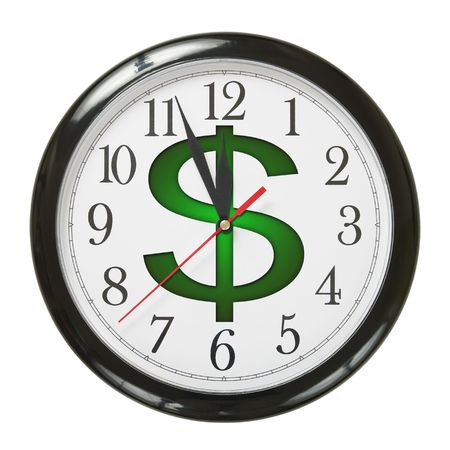 mano con dinero: concepto de reloj y d�lar s�mbolo aislado sobre fondo blanco