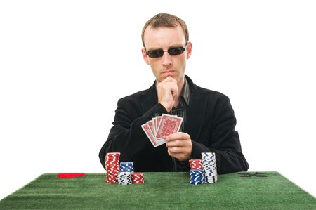 professionnal gamer playing poker isolated on white background