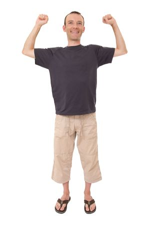 relax smiling man with arms up isolated on white photo