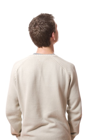 looking behind: back of pensive young man looking up isolated on white background