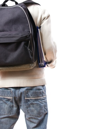 book bags: back of student with rucksack isolated on white background