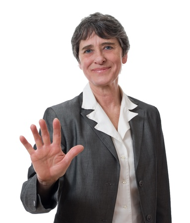 mature businesswoman refusing isolated on white background photo