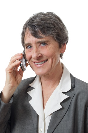 smiling lady calling with cellphone on white background photo